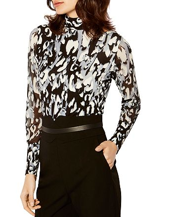 26861fba8f84 KAREN MILLEN Abstract Leopard-Print Blouse | Bloomingdale's