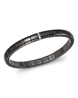 Roberto Demeglio - 18K White Gold & Black Ceramic Pura Stretch Bracelet with Diamonds