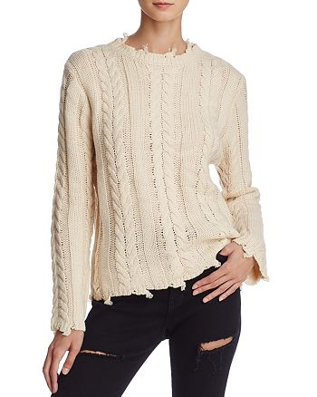 Honey Punch - Distressed Cable Sweater