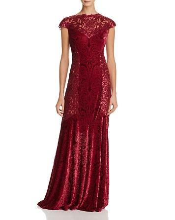 $Tadashi Shoji Sequin Lace & Burnout Velvet Gown - Bloomingdale's