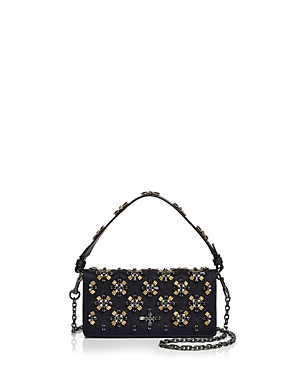 Tory Burch Cleo Embellished Fold-Over Satin Clutch