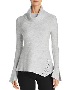 Heather B - Cowl Neck Lace-Up Turtleneck Sweater