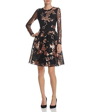 Maje Radar Floral Sequined Mini Dress