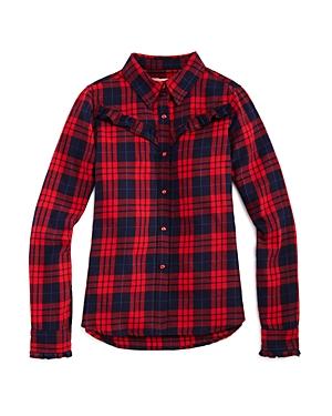 Blanknyc Girls' Ruffled Plaid Shirt - Big Kid