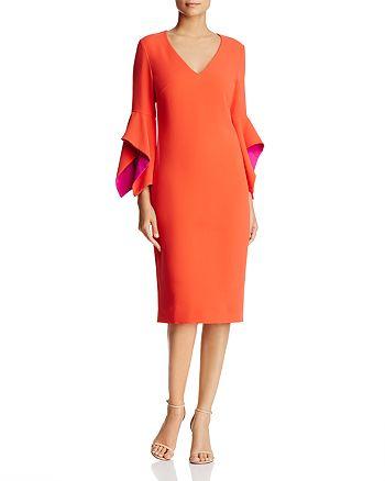 Badgley Mischka - Contrast Bell Sleeve Dress