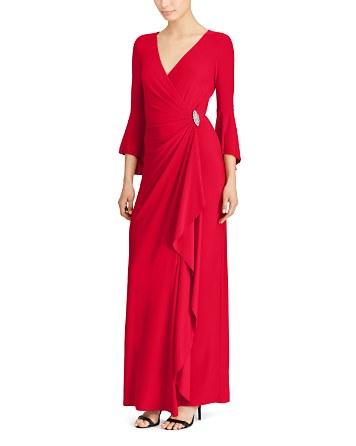 $Lauren Ralph Lauren Bell-Sleeve Jersey Gown - Bloomingdale's