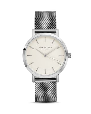 ROSEFIELD Mercer Mesh Strap Watch, 38Mm in Silver/ White/ Silver