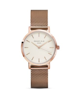 ROSEFIELD Tribeca Mesh Strap Watch, 33Mm in Rose Gold/ White/ Rose Gold