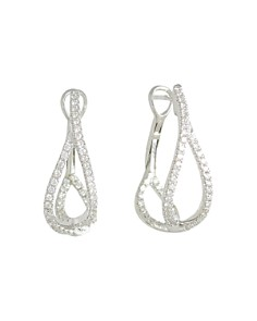 Frederic Sage - 18K White Gold Diamond Small Crossover Hoop Earrings