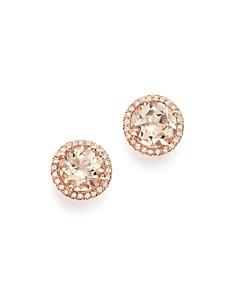 Bloomingdale's - Morganite & Diamond Halo Stud Earrings in 14K Rose Gold - 100% Exclusive