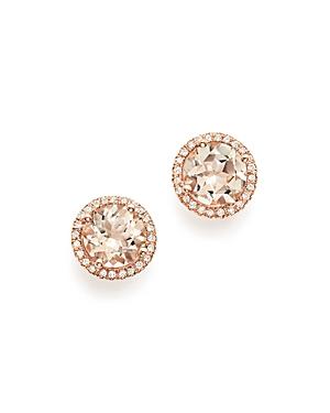 Bloomingdale's Morganite & Diamond Halo Stud Earrings in 14K Rose Gold - 100% Exclusive