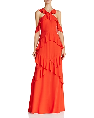 Bcbgmaxazria Cold-Shoulder Ruffle Gown at Bloomingdale's