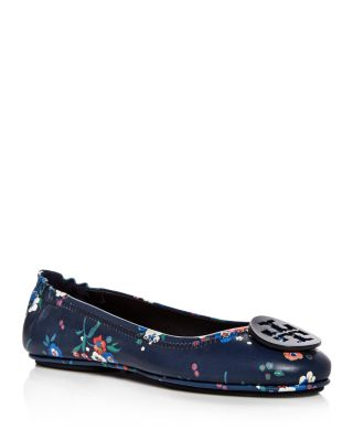 Tory Burch Leather Floral Flats
