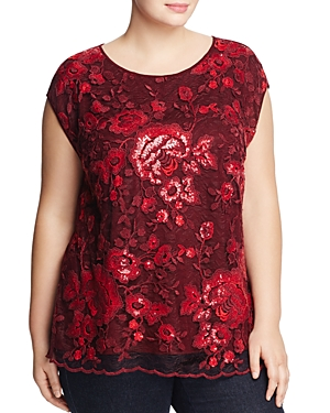 Vince Camuto Plus Sequined Lace Front Top