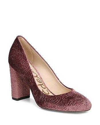 640023439 Sam Edelman Women s Stillson Embossed Velvet Block Heel Pumps ...