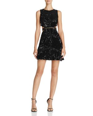 Olivaceous Sequin Cutout Dress
