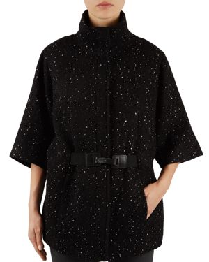 Gerard Darel Gloria Speckled Flared-Sleeve Coat