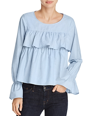 Joie Adotte Ruffled Bell-Sleeve Top