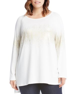 Karen Kane Plus Metallic Etched Print Top