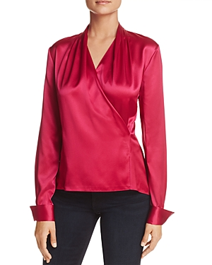 Elie Tahari Shelly Faux-Wrap Silk Top