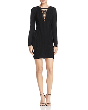 Olivaceous Lace-Up Sweater Dress