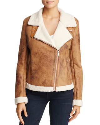FAUX-SHEARLING BIKER JACKET - 100% EXCLUSIVE