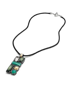 David Yurman - Châtelaine Large Mosaic Pendant Necklace with 18K Gold Domes, Green Onyx, Pyrite & Lemon Citrine with Hematine
