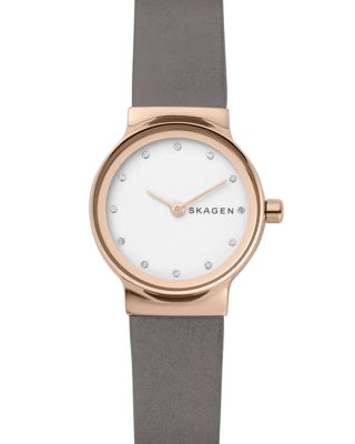 Freja Crystal Accent Leather Strap Watch, 26Mm in Gray