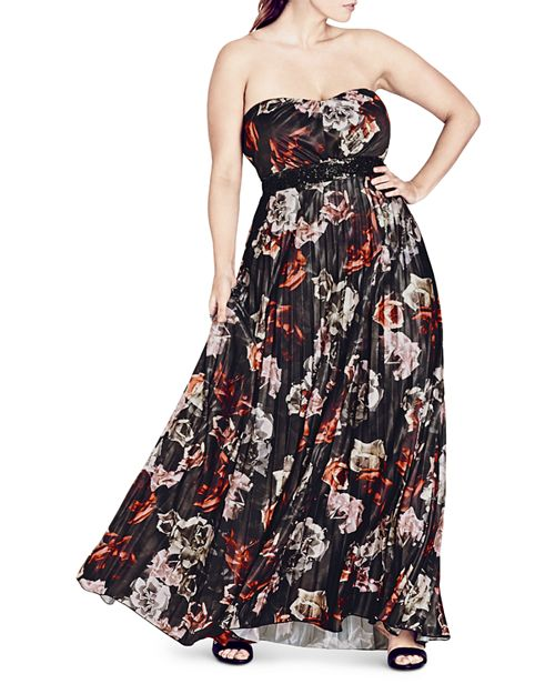 City Chic Plus - Holiday Rose Strapless Maxi Dress