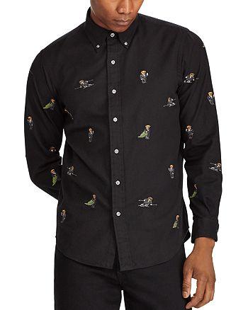 Button Ralph Bear Lauren Shirt Down Polo Embroidered 0wnk8OP