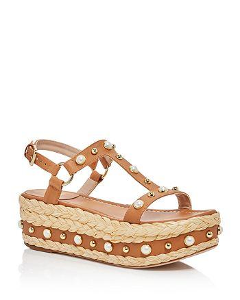Stuart Weitzman - Women's Leather Embellished Platform Sandals
