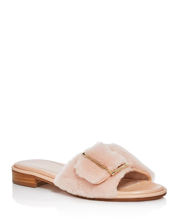 Stuart Weitzman Women's Fuzzy Wuzzy Shearling Slide Sandals 3eHvi