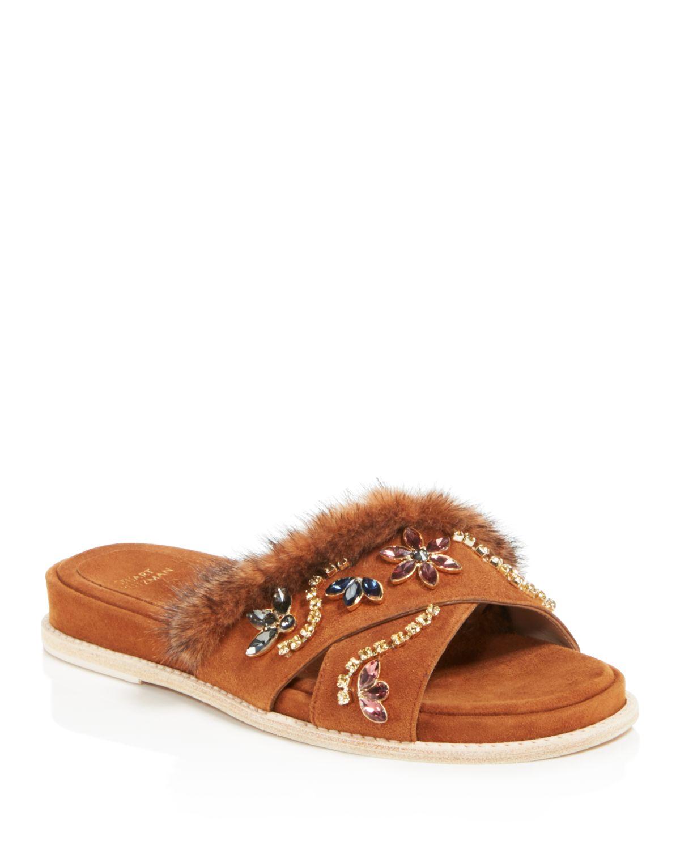 Stuart Weitzman Women's Nomedeplume Suede & Mink Fur Embellished Slide Sandals
