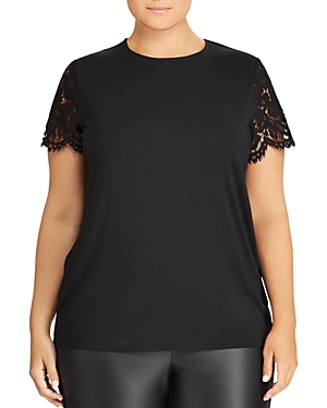 Lauren Ralph Lauren Plus Lace Sleeve Top