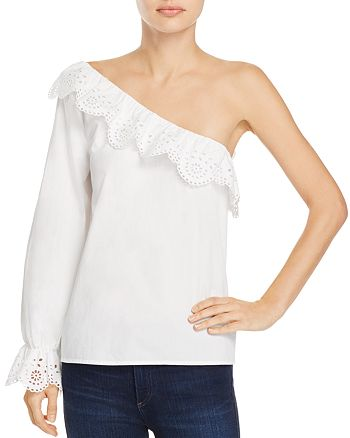 Joie - Arianthe Ruffled One-Shoulder Eyelet-Detail Top