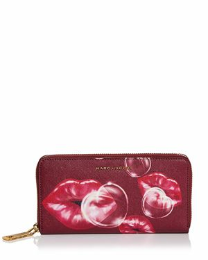 Marc Jacobs Standard Printed Lips Saffiano Leather Continental Wallet