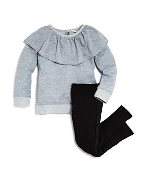 Splendid Girls Ruffled French Terry Sweatshirt  Leggings Set  Little Kid