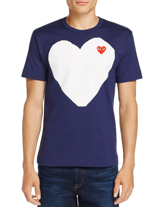 Comme Des Garcons PLAY - White Heart Crewneck Short Sleeve Tee