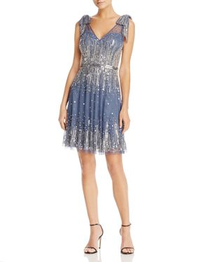 Aidan Mattox Embellished V-Neck Dress - 100% Exclusive