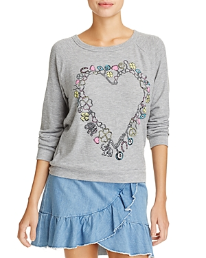 Aqua x Lauren Moshi Heart Charm Graphic Sweatshirt - 100% Exclusive