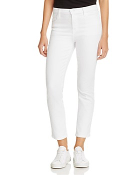J Brand - Ruby High-Rise Cropped Jeans in Blanc
