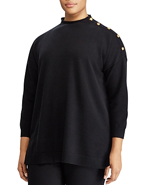 Lauren Ralph Lauren Plus Button Detail Cashmere Sweater