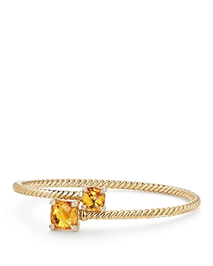 David Yurman Chatelaine Bypass Bracelet with Citrine and Diamonds in 18K Yellow Gold