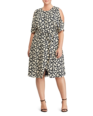 Lauren Ralph Lauren Plus Floral Print Cold Shoulder Dress