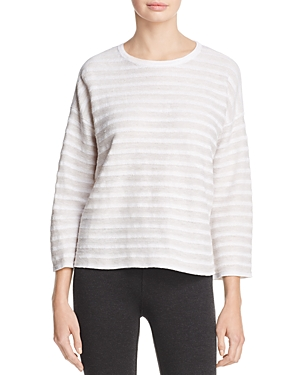 Eileen Fisher Drop Shoulder Stripe Linen Sweater