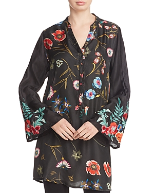 Johnny Was Lentino Floral Embroidered Bell Sleeve Silk Tunic