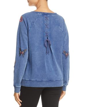 Billy T Floral Embroidered Lace-Up Back Sweatshirt