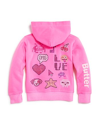 Butter - Girls' Embellished Love Hoodie - Big Kid