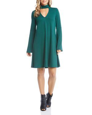 Karen Kane Taylor Choker Neck Bell Sleeve Dress 2762358