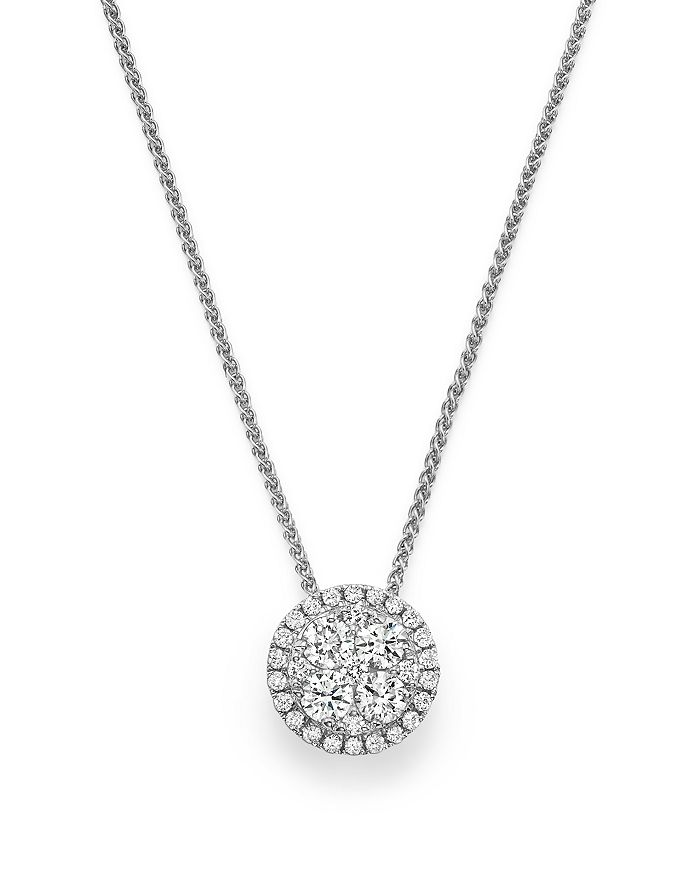 Bloomingdale's - Diamond Cluster Round Pendant Necklace in 14K White Gold, .35 ct. t.w. - 100% Exclusive
